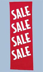 Red Sale Banner Vertical - White Font