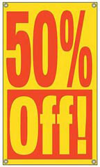 Red & Yellow Window 50% Off Sign with Suction Cups