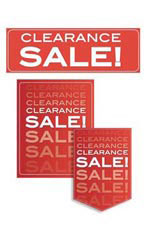 Red Clearance Sale Promotional Sign Kit Set of 11 - White Font