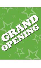 Green Grand Opening Poster - White Font