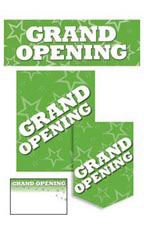 Green Grand Opening Promotional Sign Kit Set of 61 - White Font