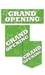 Green Grand Opening Promotional Sign Kit Set of 11 - White Font
