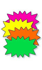 "5½"" x 3½"" Blank Single Solar Burst Sign Cards - Multi-Colored"