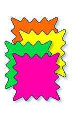 "3"" x 2"" Blank Single Star Burst Sign Cards - Multi-Colored"