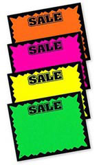 "5.5"" x 7"" Blank Single Sign Sale Cards - Multi-Colored"