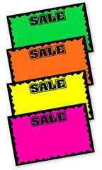 "7"" x 11"" Blank Single Sign Sale Cards - Multi-Colored"