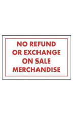 Red & White Policy Sign - No Refund Or Exchange On Sale Merchandise