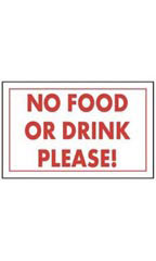 Red & White Policy Sign - No Food Or Drink Please!