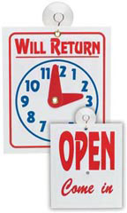 """Will Return"" Clock/Open Sign - Red & Blue"
