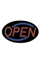 Neon Open Sign Oval - Red & Blue