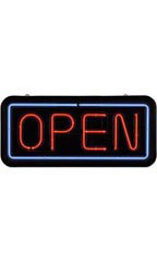Neon Open Sign Rectangle - Red & Blue