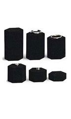 6 Piece Set of Black Velvet Hexagonal Risers
