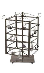 Squre Tiered Jewelry Carousel Raw Steel Lage