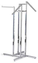 Chrome 4-Way Garment Racks with 2 Straight Arms & 2 Slant Arms