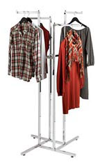 Chrome 4-Way Garment Racks with Straight Square Arms
