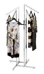 Chrome 4-Way Garment Racks with Slant Square Arms