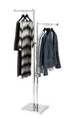Chrome 2-Way Garment Racks with Straight Square Arms