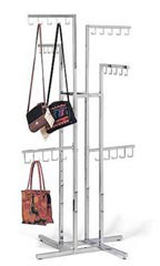 Chrome 4-Way Handbag Racks with J-Hook Arms