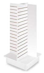 4-Panel Slatwall Tower with Rolling Base- White