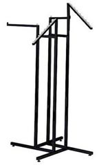 Black 4-Way Garment Racks with 2 Straight Arms & 2 Slant Arms