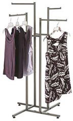 4-way Raw Steel Clothing Racks with Straight Arms