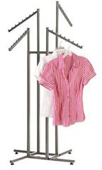 4-way Raw Steel Clothing Racks with Slant Arms
