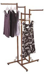 4-way Cobblestone Clothing Racks with Straight Arms