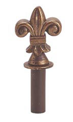 Cobblestone Fleur De LIs Counter Hook Finial