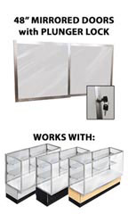 "Mirror Doors & Plunger Lock Kit for 48"" Metal-framed Full Vision Showcase"