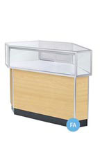 Jewelry Rear Access Corner Display Case - Maple