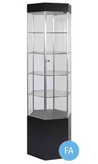 "Black 75"" Hexagonal Display Tower - Metal Frame"