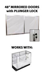 "Mirror Doors & Plunger Lock Kit for 48"" Metal-framed Extra Vision Showcase"