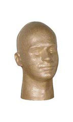 Head Form Styrofoam Male Mannequins - Suntan