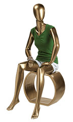 Metallic Gold Female Sitting Mannequin