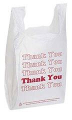 Wholesale Plastic T-Shirt Bags with Red Thank You Print
