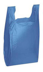 "Blue 11-1/2"" x 6"" x 21"" Plastic T-Shirt Bags with Handles"