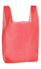 "Red 8"" x 5"" x 16"" Plastic T-Shirt Bags with Handles"