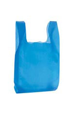 "Blue 8"" x 5"" x 16"" Plastic T-Shirt Bags with Handles"