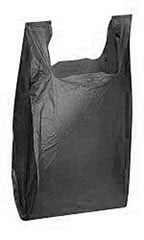 "Black 11-1/2"" x 6"" x 21"" Plastic T-Shirt Bags with Handles"