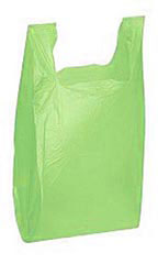 "Green 11-1/2"" x 6"" x 21"" Plastic T-Shirt Bags with Handles"