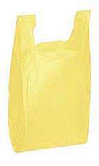 "Yellow 11-1/2"" x 6"" x 21"" Plastic T-Shirt Bags with Handles"