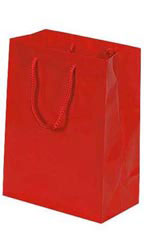 "Small Red High Gloss Tote Bags - 8"" x 4"" x 10"""