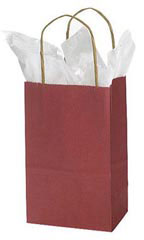 "Brick Red Kraft Paper Shopping Bags - 5 1/4"" x 3 1/2"" x 8 1/4"""