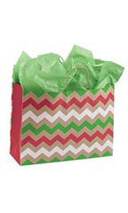 Large Christmas Chevron Paper Shopping Bags
