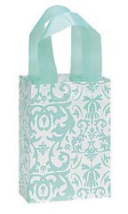 Small Aqua Damask Frosted Plastic Shopping Bag
