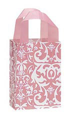 Small Pink Damask Frosted Plastic Shopping Bag