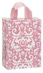 Medium Pink Damask Frosted Plastic Shopping Bag