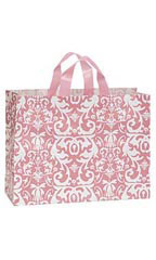 Large Pink Damask Frosted Plastic Shopping Bag
