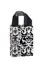 Small Black Damask Frosted Plastic Shopping Bag