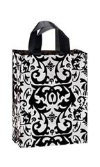 Medium Black Damask Frosted Plastic Shopping Bag